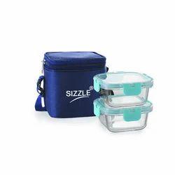Transparent Sizzle Borosilicate Square Tiffin Glass Container 320 mL