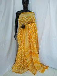 Yellow Cotton Chanderi Silk Saree
