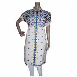 Cotton Party Wear Phulkari Semi Stitched Kurti
