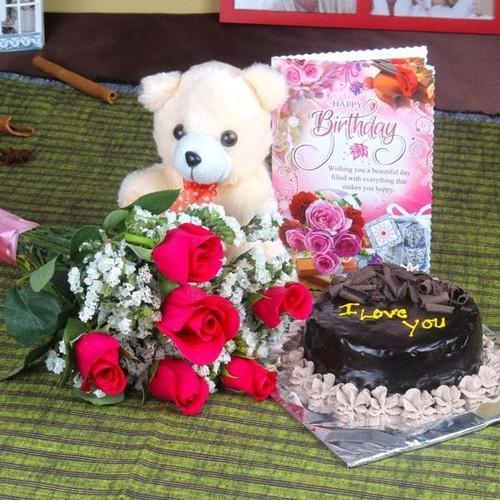 YuvaFlowers Roses And Chocolate Cake Hamper Including Teddy Bear With Birthday Greeting Card