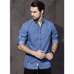 Mens Denim Collar Neck Blue Shirt, Size: S - XL