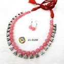 Cl Code Agate Semi Precious Stone And German Silver Loop Contemporary Necklace Manufacturer Direct
