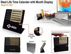 Steel Life Time Calendar With Month Display H-1301
