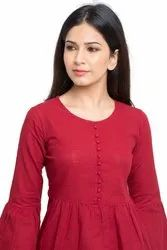 Yash Gallery Women's and Girls Cotton Slub Solid Top