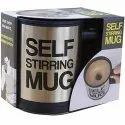 Self Stirring Stainless Steel Mug, 390 ml, Silver