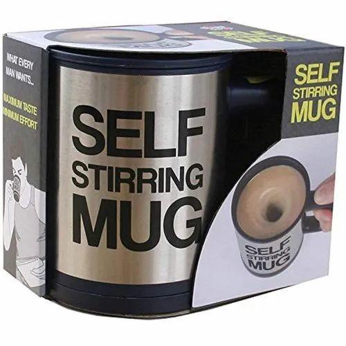 Printed Self Stirring Stainless Steel Mug, 390 ml, Silver, Capacity: 390ml, for Coffee
