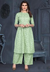 Pastel Green Cotton Kurti with Palazzo