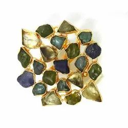 Multi Rough Gemstone, Gold Vermil, Cocktail Ring