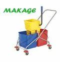 Side Press Double Bucket Wringer Trolley