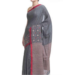 Ladies Khadi Grey Designer Saree