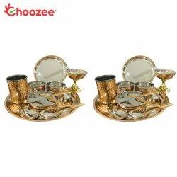Choozee - Copper Thali Set of 2 (24 Pcs) of Plate, Bowl, Spoon, Glass, Ice-Cream Cup, Knife & Fork