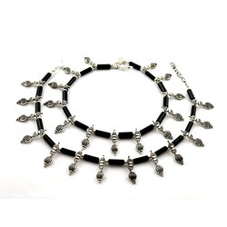 Oxidized Black Stone Silver Anklets