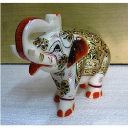 White Marble Elephant Statue with Golden Work