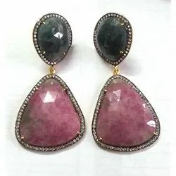 Pave Set Multi Sapphire Earring