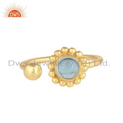 Blue Topaz Gemstone Flower Design Gold Plated 925 Silver Rings