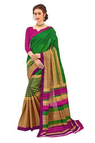0eed70f3b8 Casual and Party Wear Silk Designer Fancy Bhagalpuri Printed Saree, With  Blouse Piece