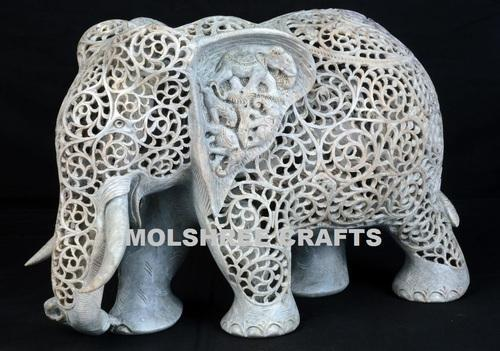 Marble Carving Undercut Elephant Usage Interior Decor Exterior Home