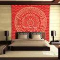 Silver Mandala Tapestry Wall Hanging