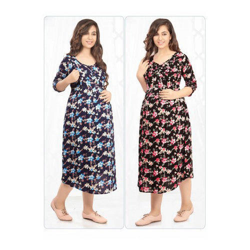 9b0366a6f4 Cotton Rayon 3/4th Sleeves Printed Calf Length Maternity Gown, Size: M to