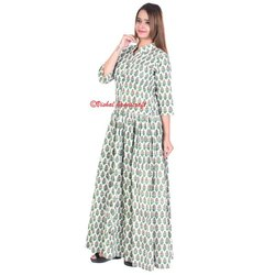 Women's Hand Block Printed Long Gown Dress
