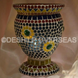 Mosaic Glass Hurricane Lamps
