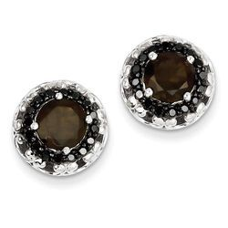 Smokey Quartz Studs Earrings & Customizable Silver Earrings