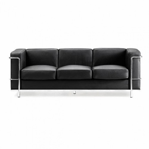 Black Leather Sofa Office: Black 3 Seater Leather Office Sofa, Rs 11500 /piece, I