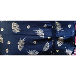 120 GSM Rayon Mor Pankhi Design Gold Print Fabric