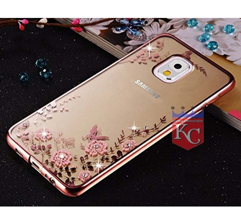 hot sale online 83408 52a46 Auora Flower Case With Sparkle Crystals For Galaxy Note 3 Back Cover Rose  Gold