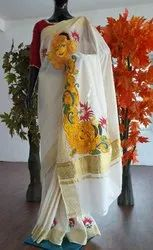 Ladies Chiffon White Mural Painting Saree