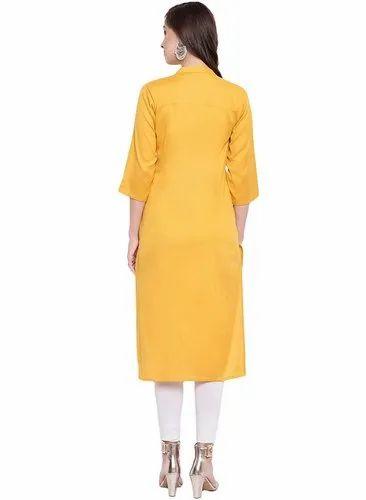 Details about  /Women Solid Cotton Blend Straight Multi Color Round Neck Regular Fit Kurti
