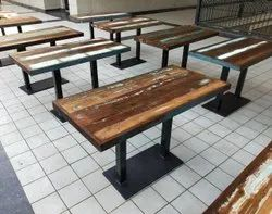 Rustic Green Natural Brown Reclaimed Wood Cafe Furniture, Seating Capacity: 4 Person, Size/Dimension: 120x60x75 Cm