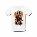 Kids White Printed T Shirt