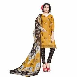 Rajnandini Mustard Cotton Printed Unstitched Dress Material
