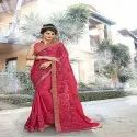 Coding With Thread Embroidery & Stone Work saree