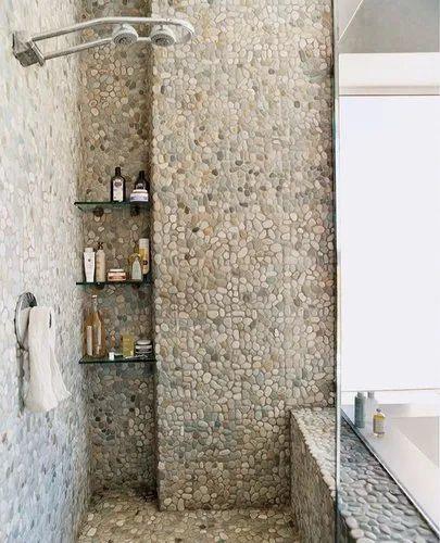 White Pebble Tiles Bathroom, Bathroom With Pebble Tiles