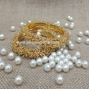 Party Wear And Engagement Golden Beaded Faux Pearl Bangles