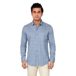 Cotton Blue Printed Casual Shirt