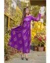 Purple Printed Rayon Anarkali Kurti