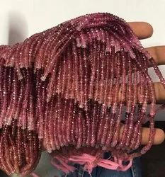 Natural Pink Tourmaline Stone Faceted Rondelle Beads Strand