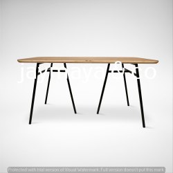 Iron And Wood Rectangular Wooden Metal Table, Iron Base With Powder Coating, Size: 4FTX2.5FT