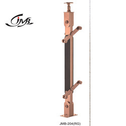 Stainless Steel Wooden Rose Gold Finish Railing Pillar