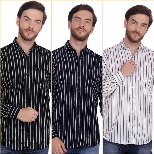 Strip Shirt Collar Neck Fnx Men' s Cotton Striped casual Shirt