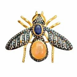 Pave Diamond Honey Bee Pendant Crafted in Silver