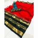 Party Wear Printed Traditional Cotton Silk Saree, 6.75 (with Blouse Piece)