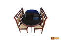 Nile Solid Rosewood Dining Set - Glass Top Table With 6 Chairs