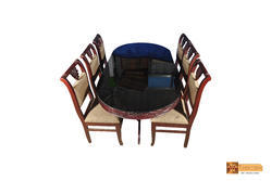 Padma Solid Oval Rosewood Dining Set - Glass Top Table With 6 Chairs