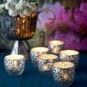 Silver And Designer Silver Votive T Light Candle Holder