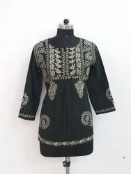 Black Chikan Embroidered Tops