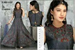Women Grey Anarkali Gown